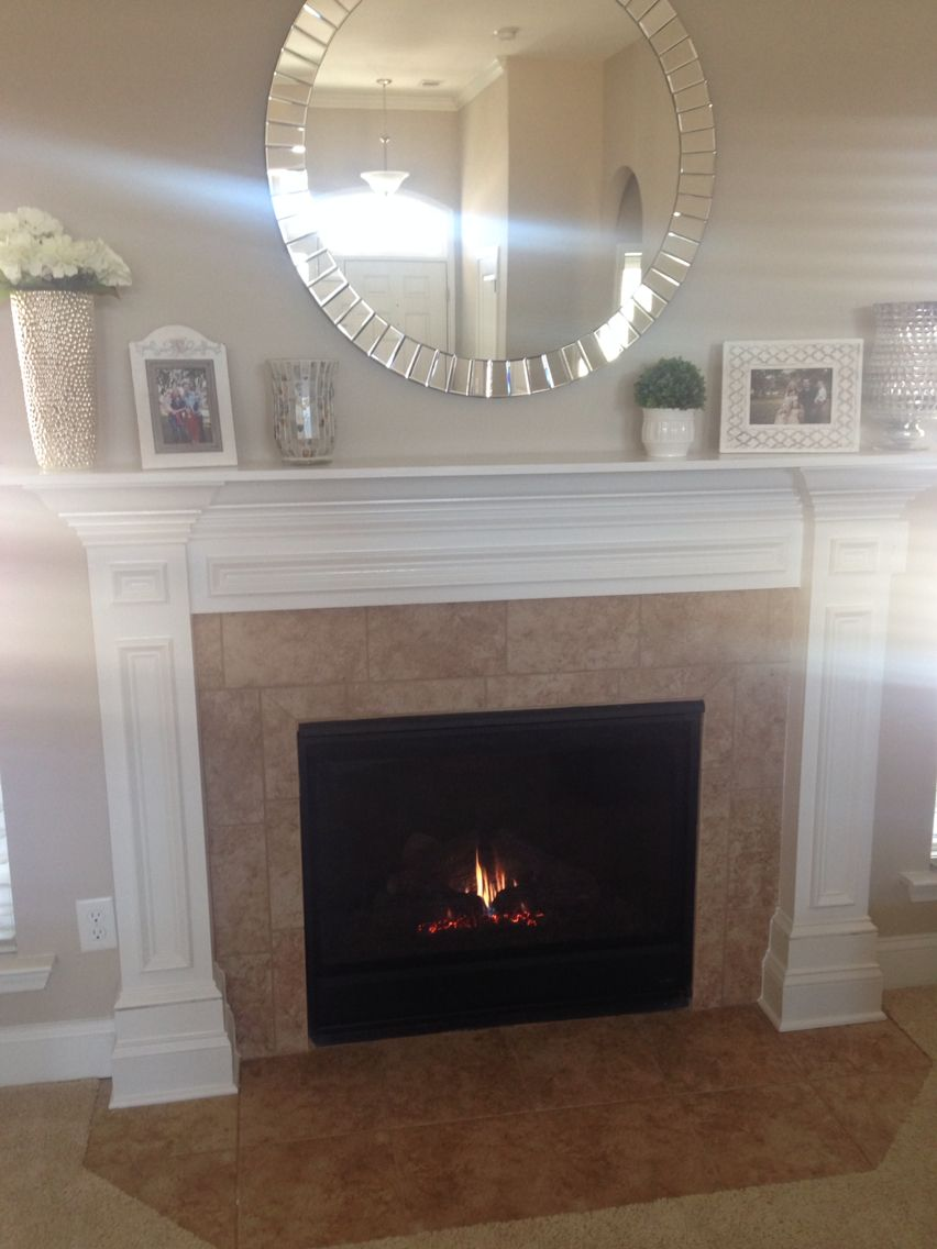Our Savannah Home The Abbyson Living Round Mirror 35 Fit Perfectly Over The Fireplace Decor