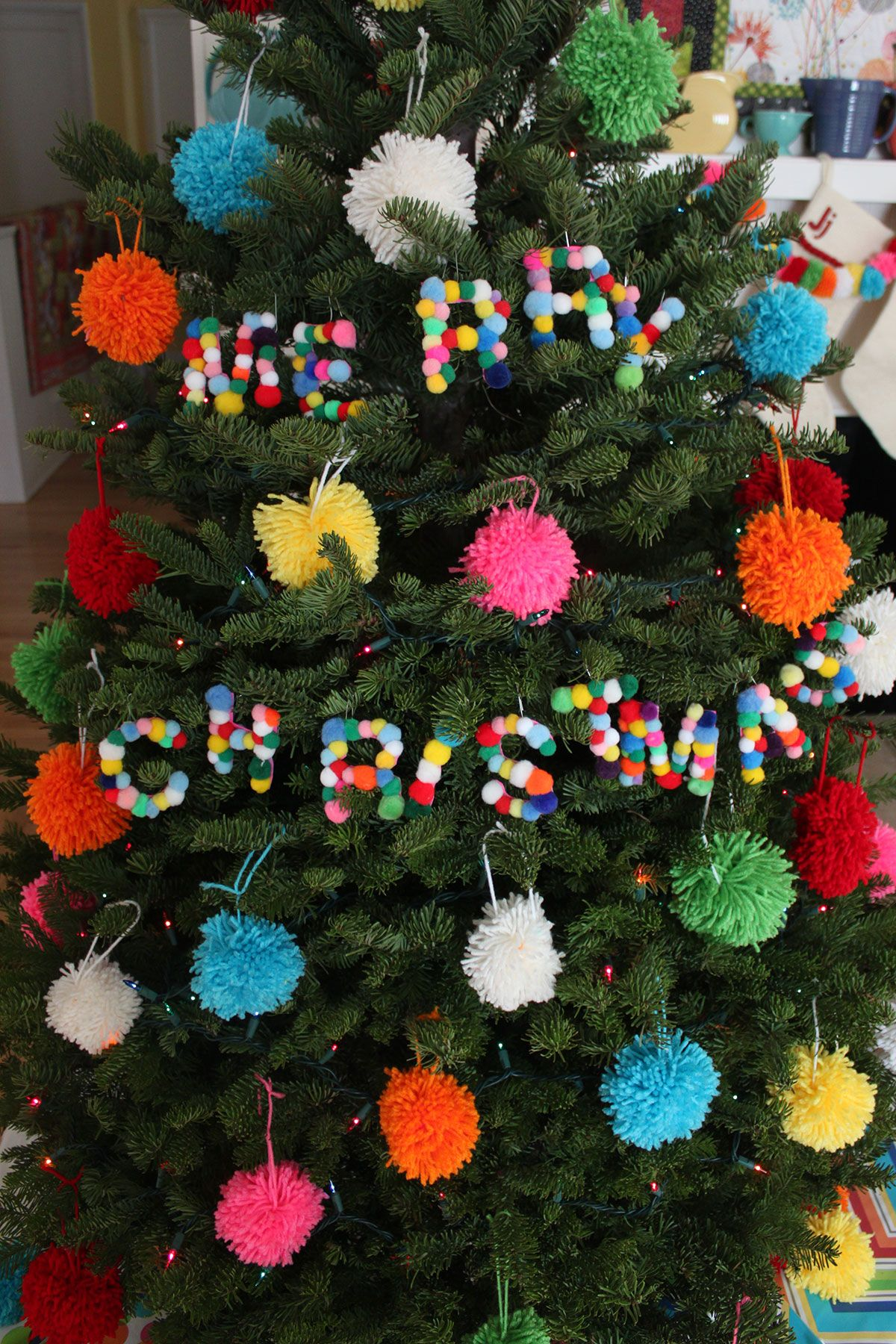 Diy Pom Pom Letter Ornaments Paint The Gown Red Paper Christmas Decorations Pinterest Christmas Crafts Felt Christmas Decorations