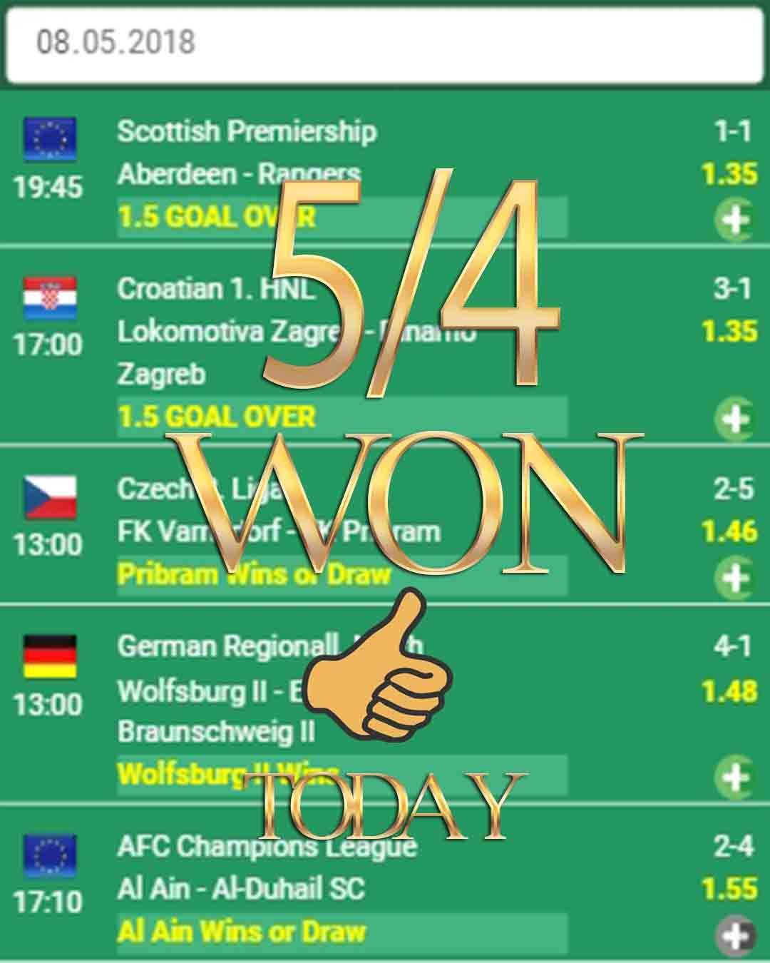 Sports bet 5/4 WON sports bets, sports bettor, soccer