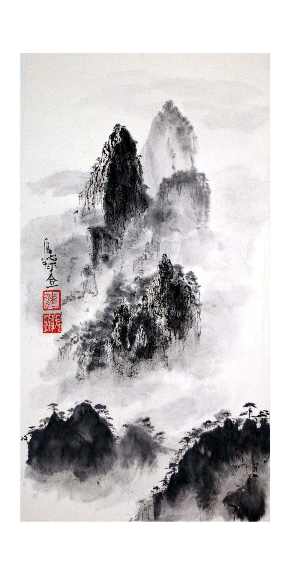 L Esprit Des Montagnes 80 X 40 Cm La Peinture Zen Ou Sumi E