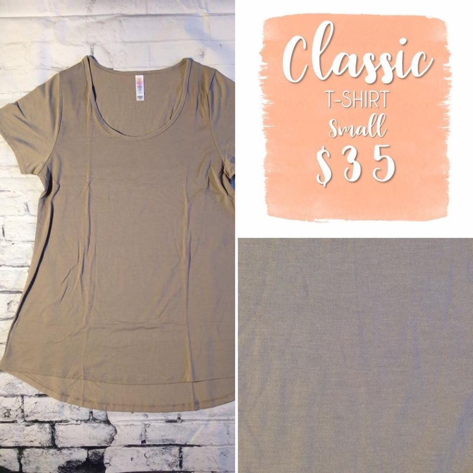 051617 Classic T is a wardrobe staple to compliment all your LuLaRoe skirts & leggings. It is made from comfortable spun polyester jersey, with short sleeves & high round neck line. The Classic T pairs well with leggings as the back is slightly longer to flatter bodies of all shapes & sizes. It is an essential foundational piece for your truly phenomenal wardrobe. Shop LuLaRoe with Tamara Feather at https://www.facebook.com/groups/703261596502999/