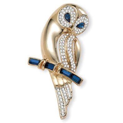 crystal barn owl pin