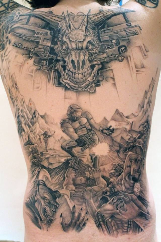 Doom Backpiece This Is Awesome Gaming Tattoo