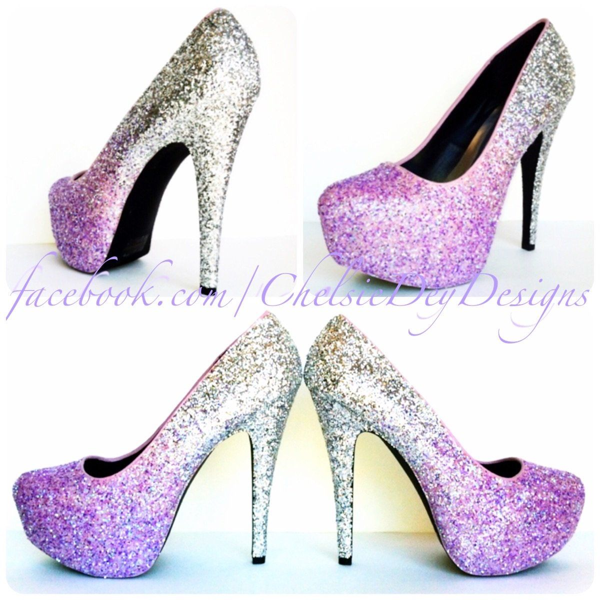 Wedding Glitter High Heels Lilac Silver Ombre Purple Platform