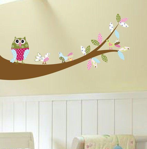 Vinyl Wall Sticker Decal Owl Birds on a branch by wallartdesign, $59.99