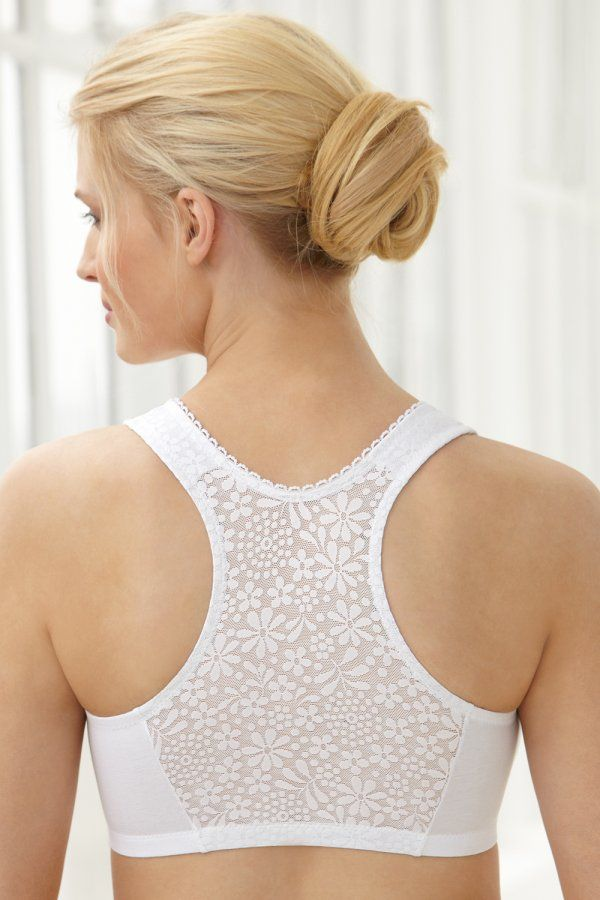 aa3cb89ddace9 Glamorise complete comfort cotton T-Back bra with a specially designed lace  back that breathes and provides a smooth looking back.