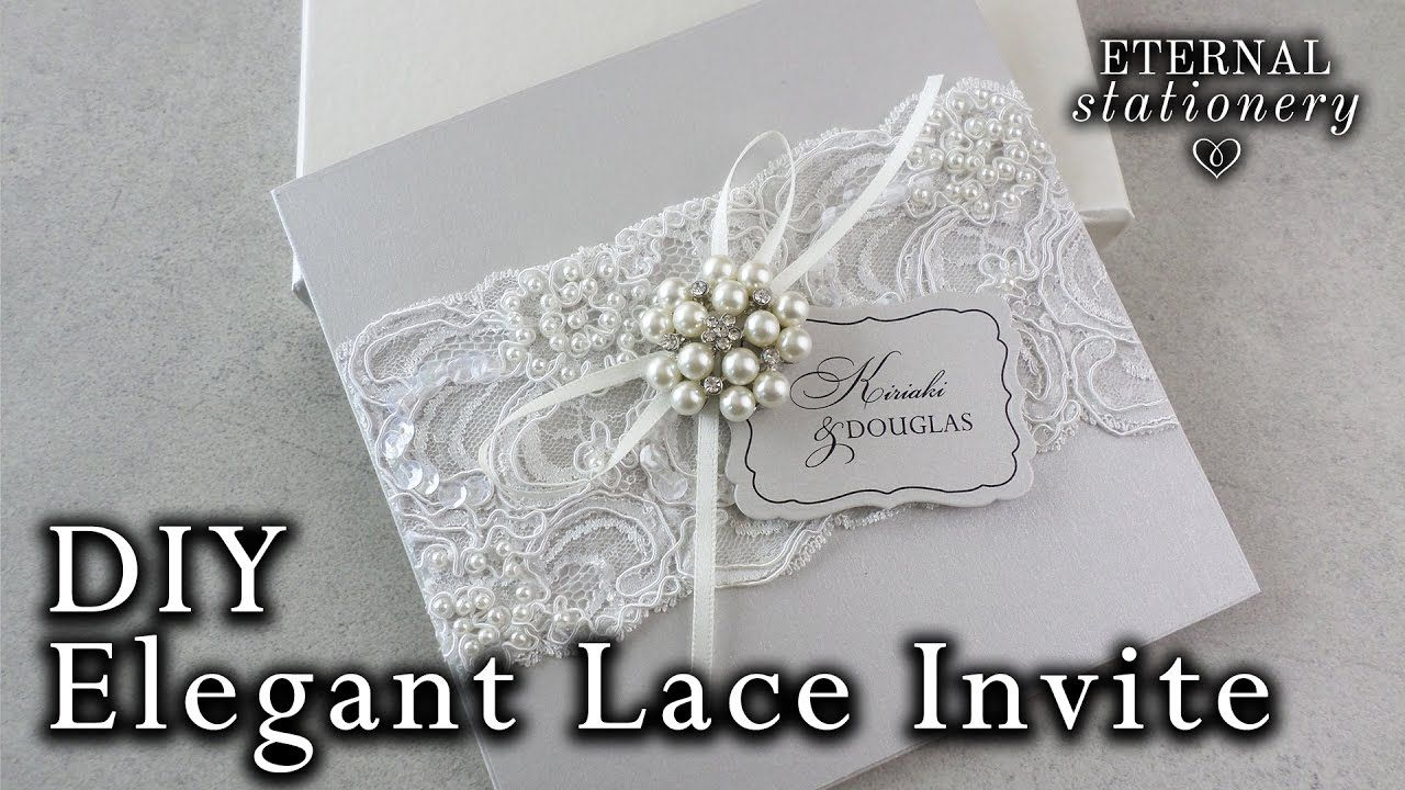 Elegant beaded lace and brooch wedding invitation diy elegant beaded lace and brooch wedding invitation diy invitations monicamarmolfo Image collections