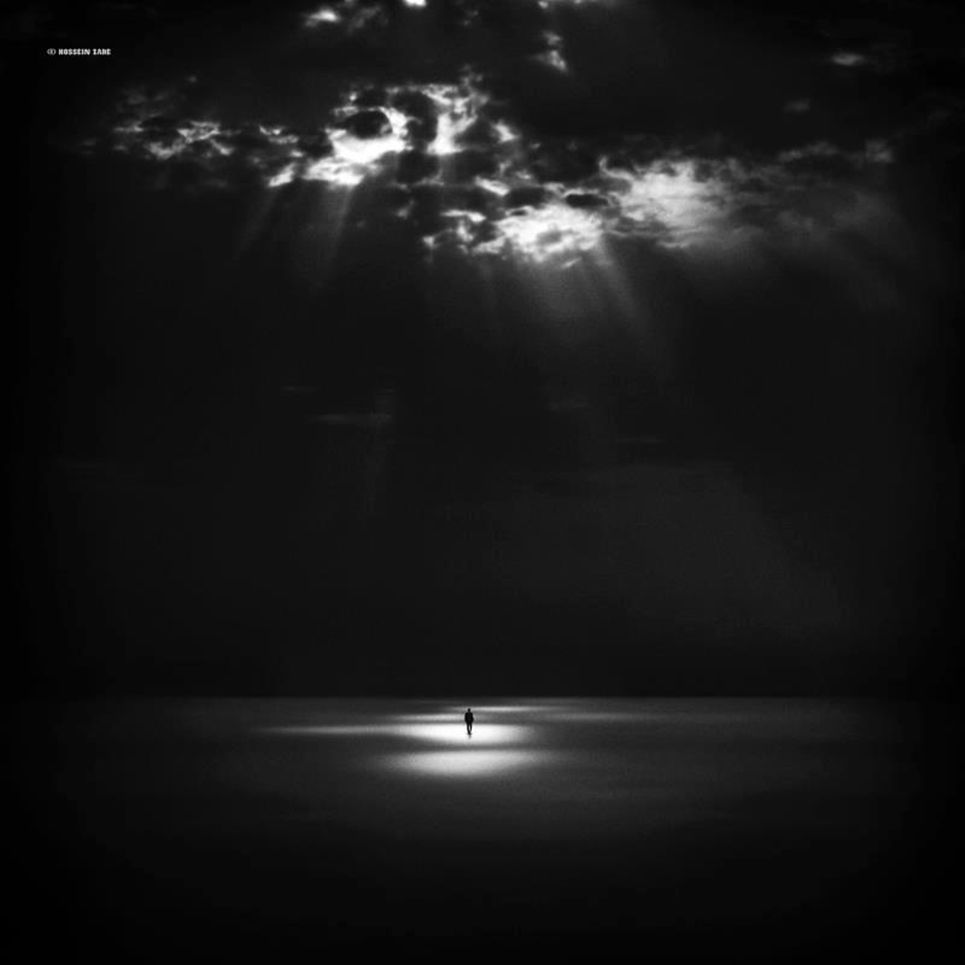 Alone in the dark night black and white photography
