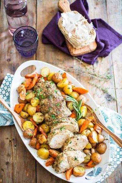 MAPLE AIL rôti de porc et pommes de terre avec des carottes
