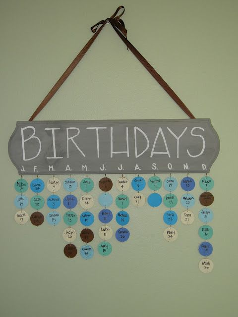 DIY birthday calendar...I Love this idea.