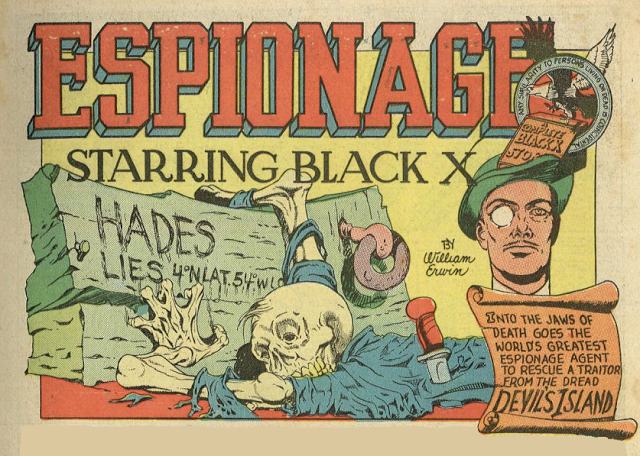 Espionage starring Black X with a great skeleton   comic books comics
