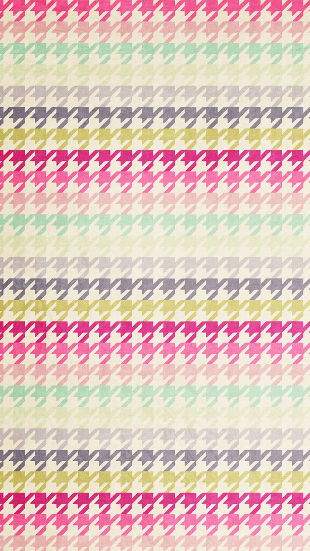 Pink Mint Grey Houndstooth Check Iphone Background Wallpaper