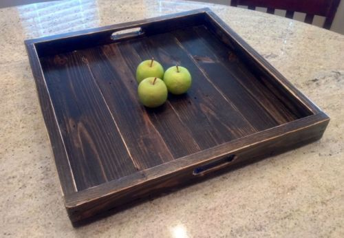 Extra Large Ottoman Tray Reclaimed Wood Square Ottoman Tray