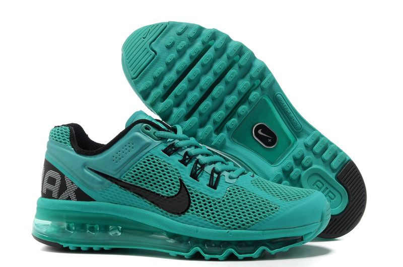 Women's Nike Air Max 2013 Shoes Green Black