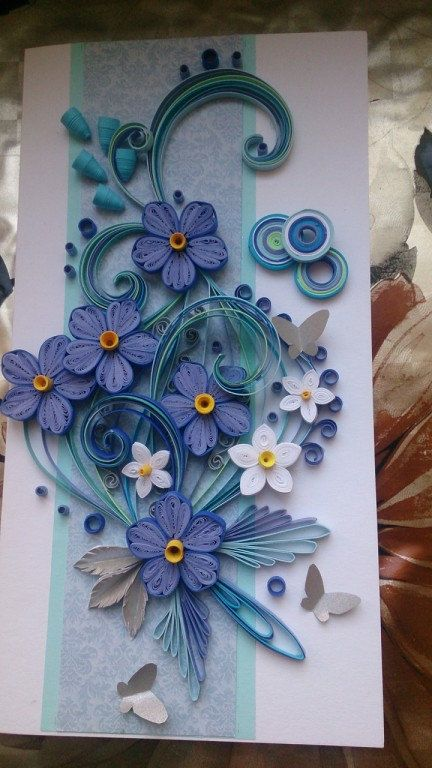 Card made of paper strips in the technique of quilling for Quilling strips designs