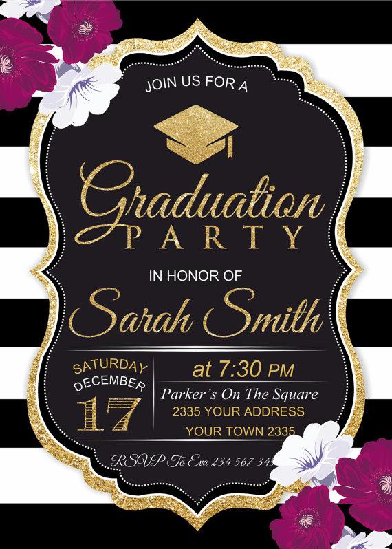 Graduation Party Invitation Black White Stripe Floral