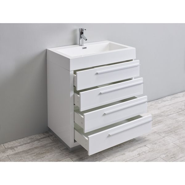 Eviva Rino 30 White Bathroom Vanity with Acrylic Sink and Faucet by
