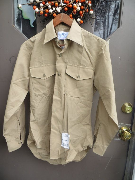 Vintage USMC Khaki Military Button Up Shirt by Linsvintageboutique
