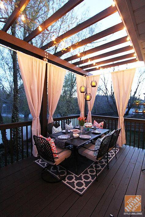 Charmant Outdoor Curtains | Deck Decor | Pinterest | Balkon Deko, Balkon Und  Einrichten Und Wohnen