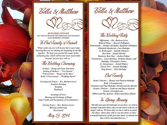Double Heart Wedding Program Microsoft Word Template  Brown