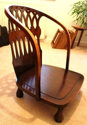 Ordinaire Superb Stained Walnut, Short Legged Victorian Nursing Or Slipper Chair With  Decorative Fretwork Back