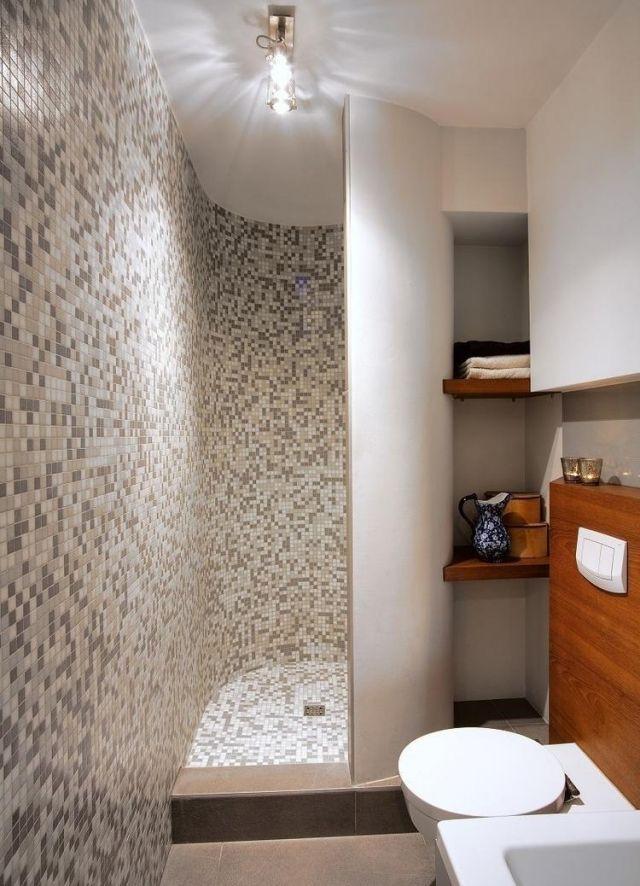 kleines bad mosaikfliesen für die walk-in dusche regale in ...