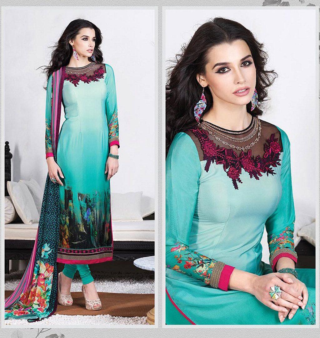 Aqua Crepe Churidar Suit 61555 | INDIAN STORE,,,, | Pinterest ...