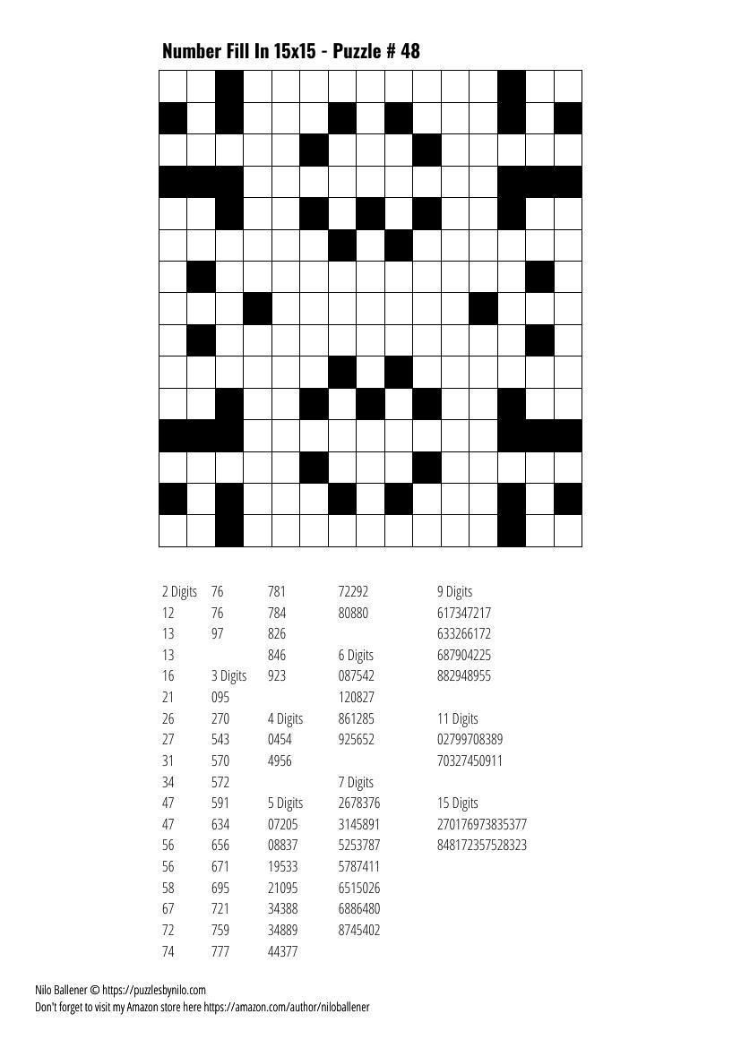 Free Downloadable Puzzle Number Fill In 15x15 48