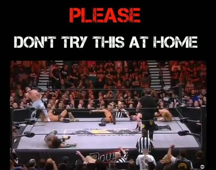 If you DO try this at home. Please. For all of us. Create a good storyline first so at least we all enjoy it :) . . . #donttrythisathome #aew #prowrestling #wrestling #wwe #wwf #tna #roh #ecw #wcw #awa #nwa #icpw #czw #njpw