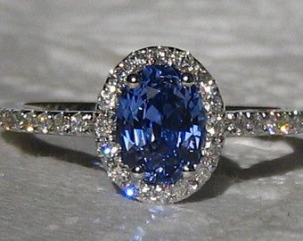Blue Sapphire Engagement Ring Ceylon Blue by JuliaBJewelry on Etsy
