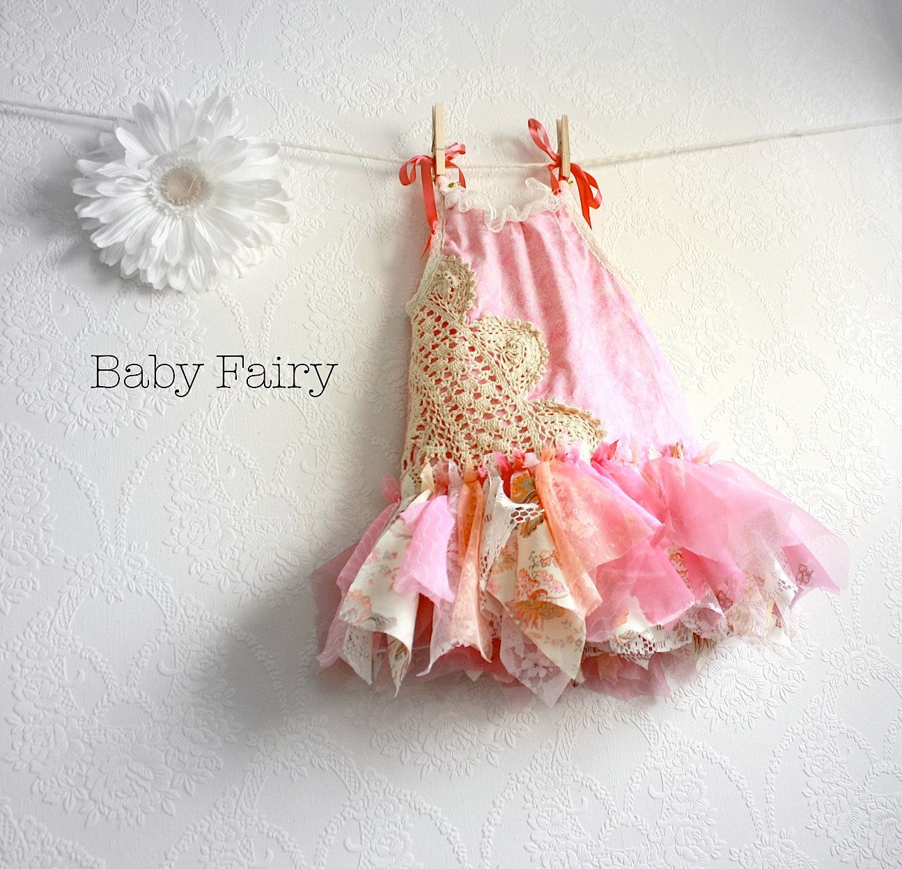 Shabby Chic Fairy Dress 12 Months Pink Sundress Eco Friendly ...