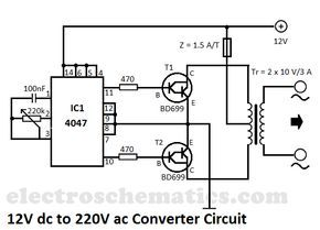 Dc To Ac Converter 12v To 220v Voltage Converter Circuit Diagram Electronic Engineering Electronic Schematics