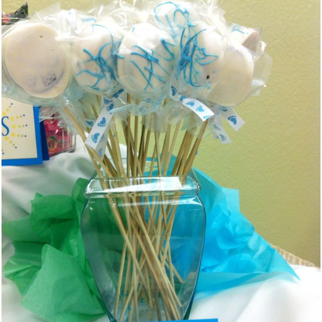 "Cookie ""pops"" (Oreos dipped in chocolate) About to pop baby shower"