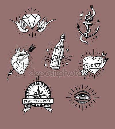 Download – old school tattoo designs – Stock Illustration # 75799025