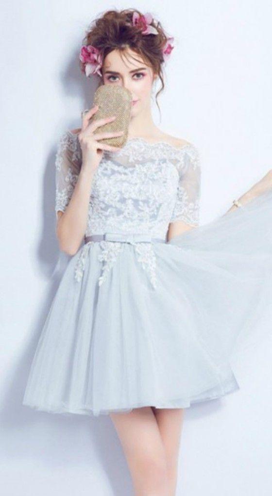 Blue A-line Off-the-shoulder Short Tulle Formal Dress With Appliques ...