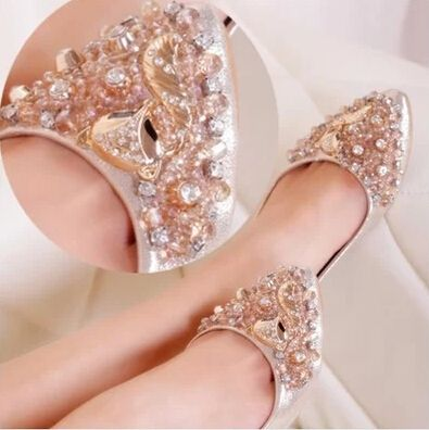 Luxurious! NEW Summer flats fashion women sandals ladies shoes crystal beads women shoes 2014  hot sale Free shipping US $39.99