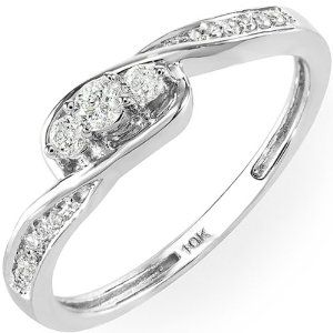 0.25 Carat (cttw) 10k White Gold Round Diamond Ladies 3 stone Engagement Twisted Promise Bridal Ring 1/4 CT --- http://www.pinterest.com.itshot.me/2n0