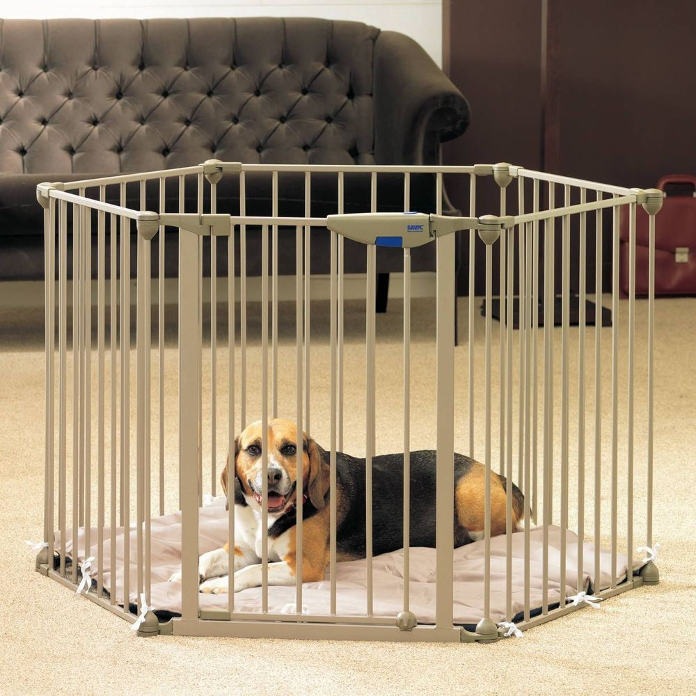 Pet Metal Playpen Foldable Fence Washable Cushion Dogs Cats Cage Indoor Outdoor