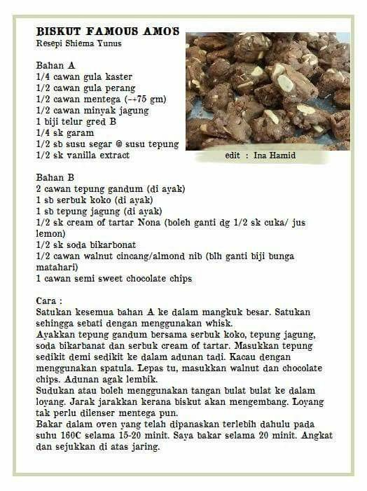 Biskut Famous Amos Cookie Recipes Resepi Cookies Recipes