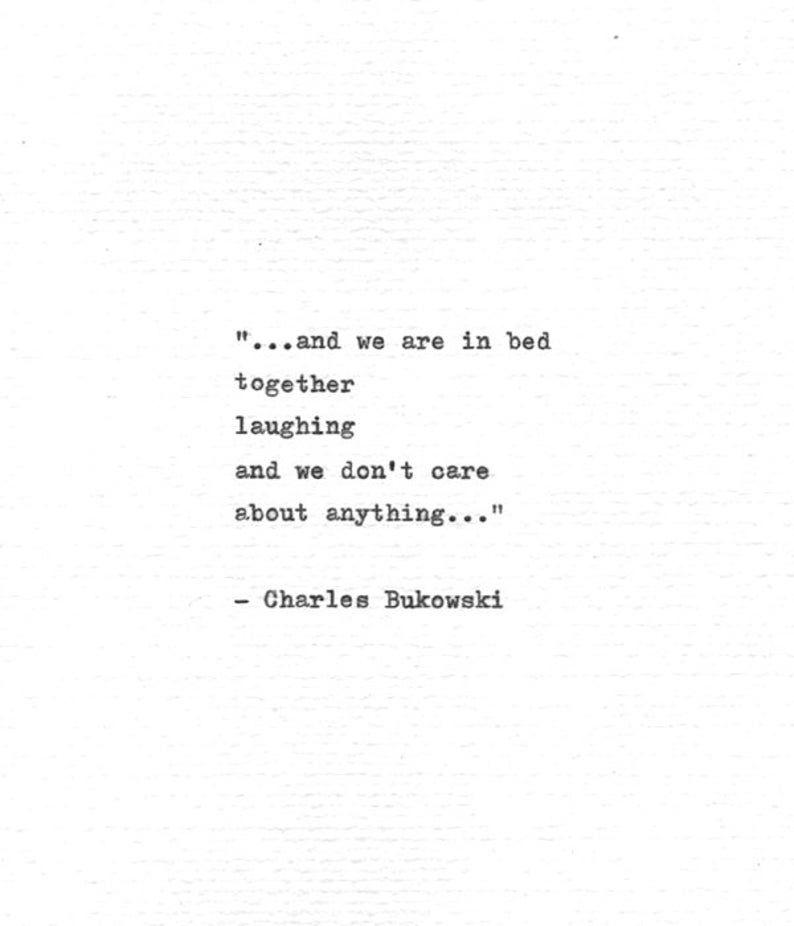 Charles Bukowski Maschinenschrift Zitat ... im Bett | Etsy