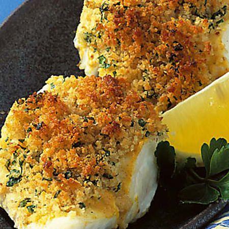 Fisch mit Senf-Kräuterkruste #seafooddishes