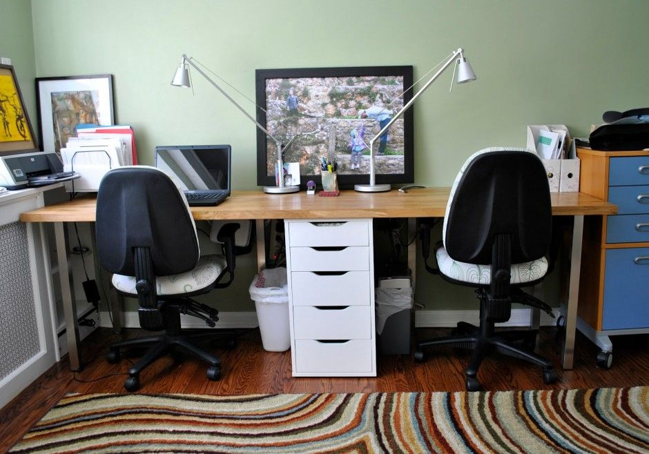 2 Person Home Office Desk Design Ideas : Butcher Block Perfect Double Desk  For 2 Person