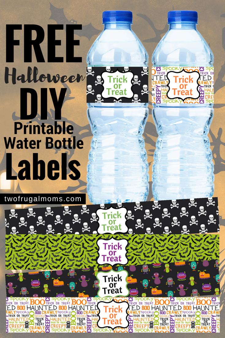 printable halloween water bottle labels