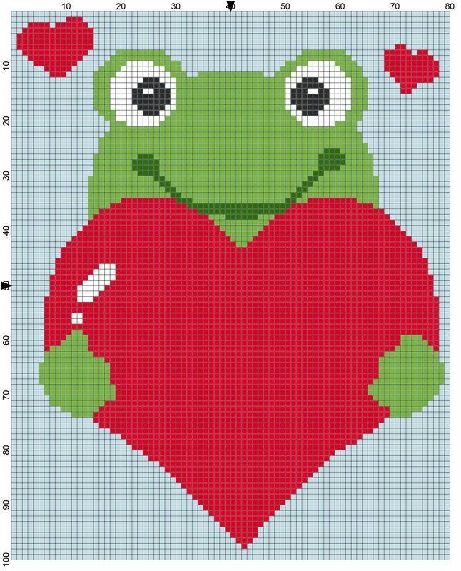 Love frog c2c crochet graph graphgan pattern perler | Corner to ...