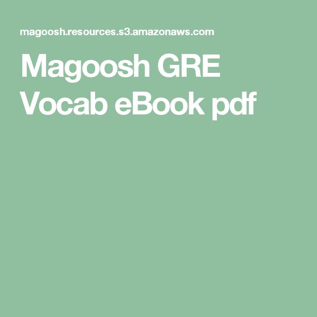 Magoosh Gre Verbal Ebook