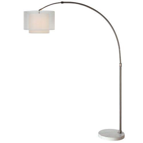 Brella brushed nickel one light arc floor lamp with sheer for 4 tier floor lamp