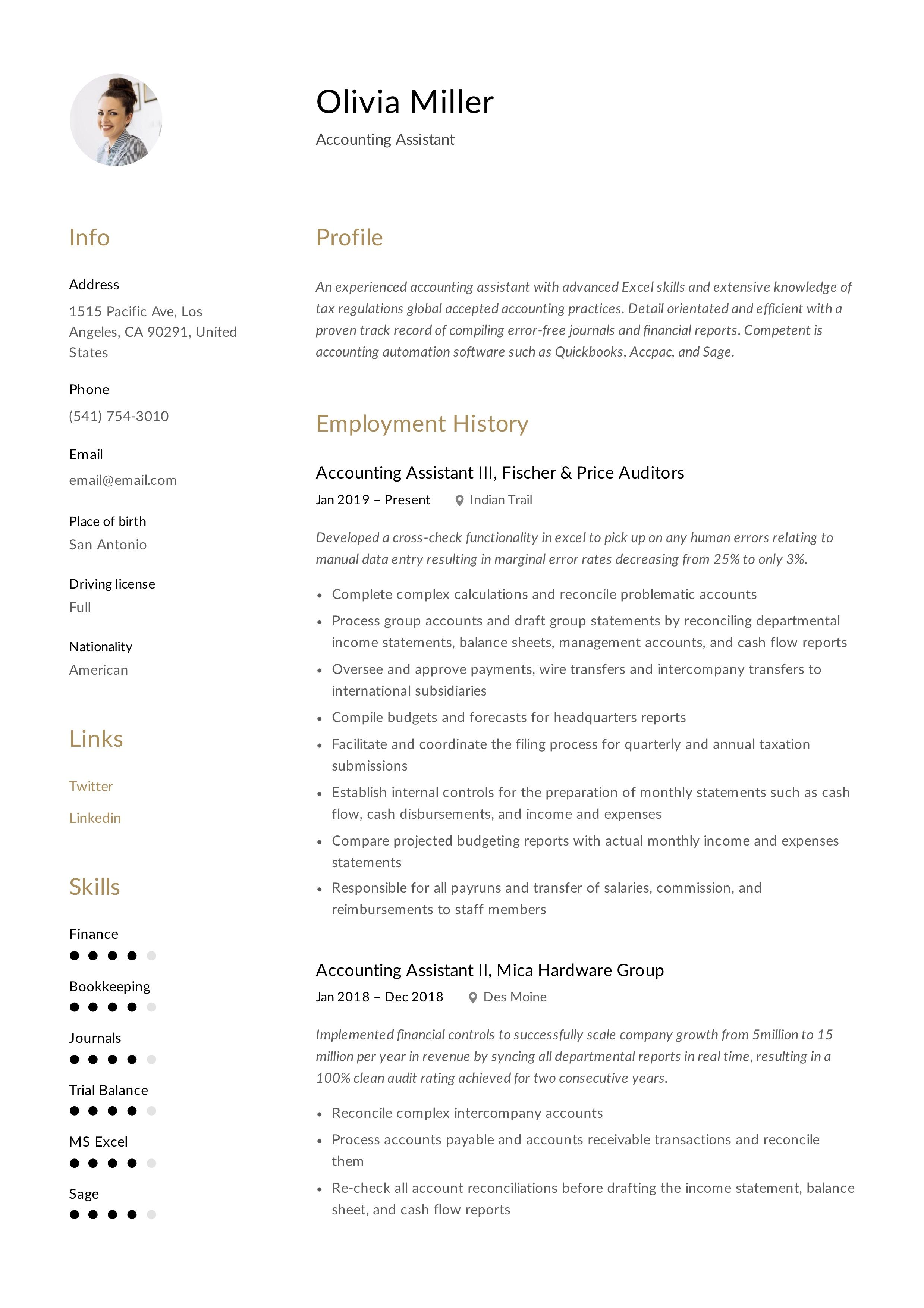35+ accounting resume examples 2021 in 2020 Manager