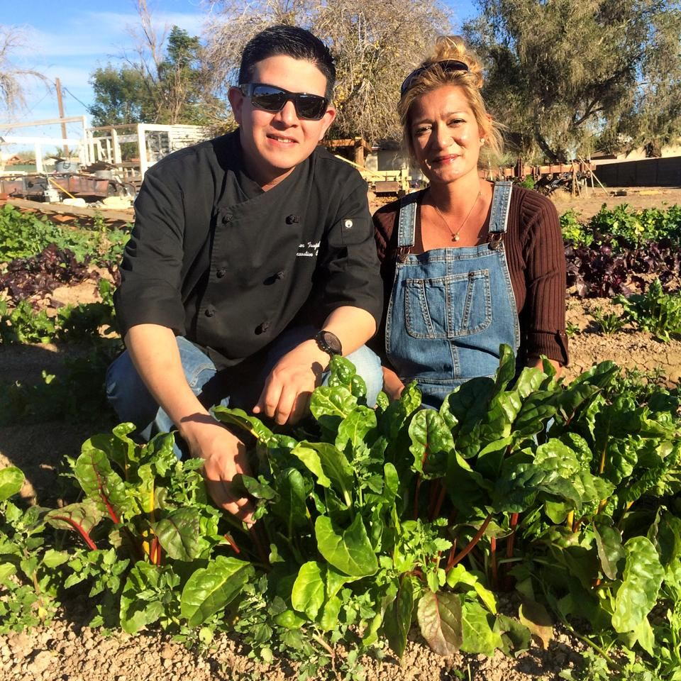 Carmen And Local Chef Alex Trujillo Harvesting Some Of Our Organic