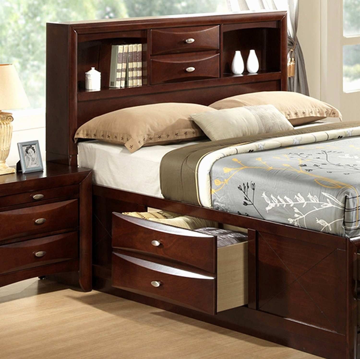 30 new full size bed frame with storage and headboard