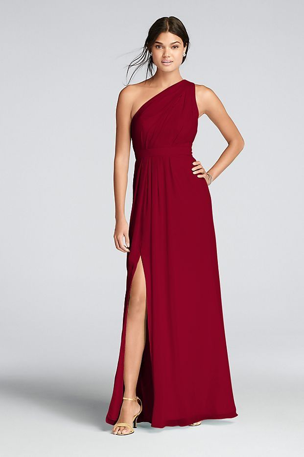 a7fefa7f843 Apple Red Long One-Shoulder Crinkle Chiffon Bridesmaid Dress by David s  Bridal